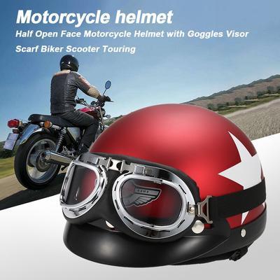 Vintage Retro Motorcycle Bike Half Open Face Helmet with Visor Goggles Scarf