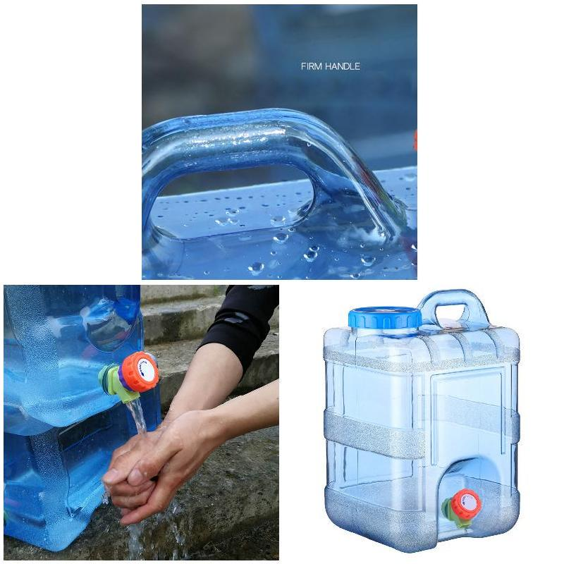 15L Outdoor Water Bucket Portable Picnic Water Tank Container w// Faucet