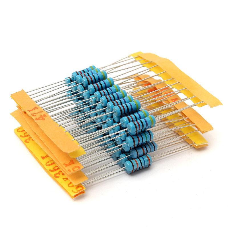 1000pcs 1/% 1W 100 Value Metal Film Resistor Resistance Assortment 1ohm-1M Ohm