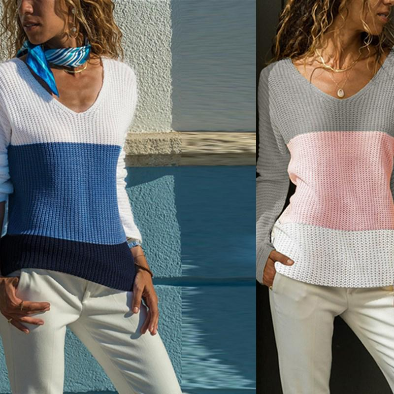 V Neck Contrast Color Splicing Knit Pullover Women Long Sleeve Sweater Warm Sweatshirts Knitted Tops