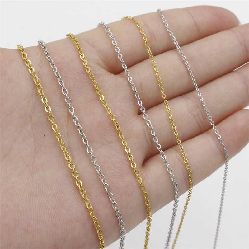 16 with 2 Extender Chain Chain For Pendant Silver Chain 1.5mm width  Cable Chain Necklace Wholesale Stainless Steel Cable Chain