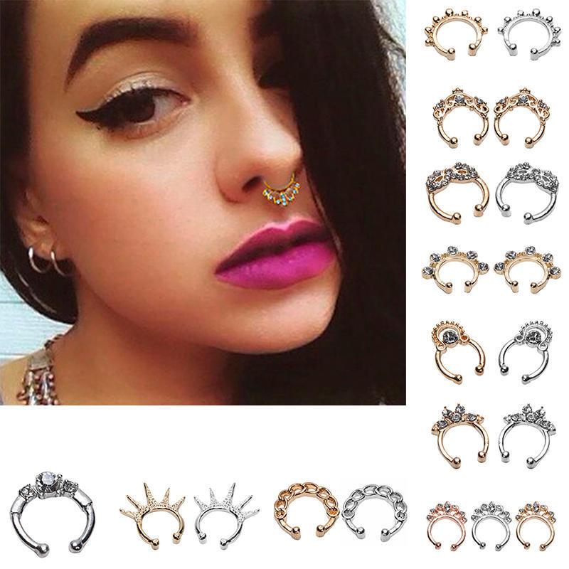 Unisex Stylish No-Hole C-Shaped Nose Ring Hoop Lip Nose Ring Small Thin Piercing