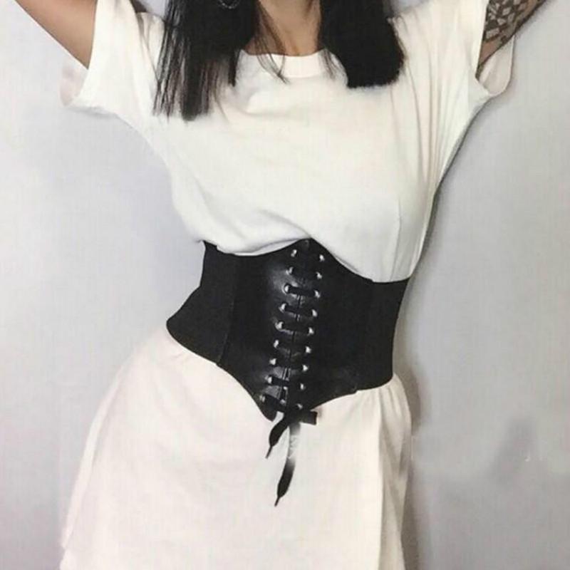 Фото - Сексуальные женщины Slim Girdle body Shaper Buckle Wide Waistband WaistBand Underbust Shapewear Corset Belt plus striped wide leg pants with belt