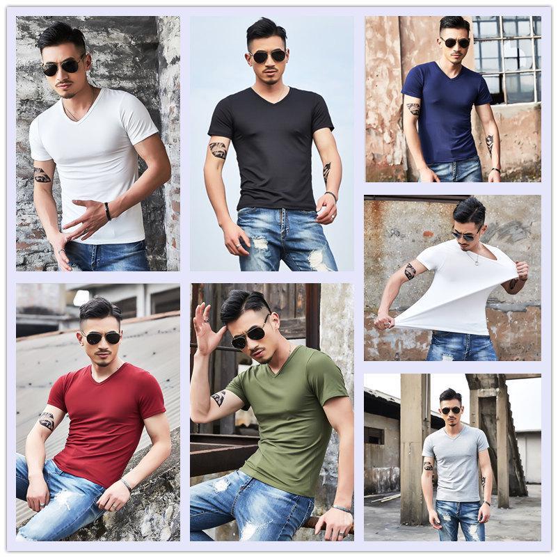 Мужчины V-образный вырез Короткие рукава T-Shirt случайный тонкий ти рубашка