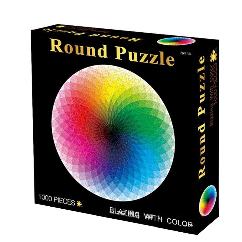 Puzzles for Adults 1000 Piece Jigsaw Puzzles 1000 Pieces for Adults Kids Large Puzzle Game Toys Gift-1000 Pieces Color Challenge Round Jigsaw Puzzles