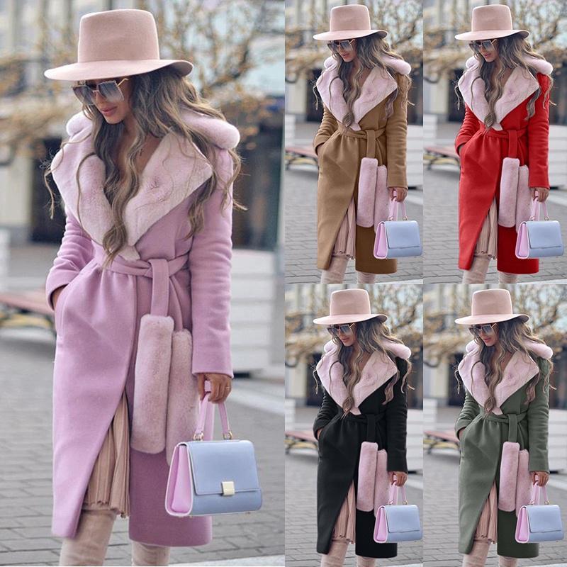 Зимние теплые женщины Woolen пальто Мода Thicken Поворот-вниз воротник Двойной боковой куртке одежда – купить по низким ценам в интернет-магазине Joom