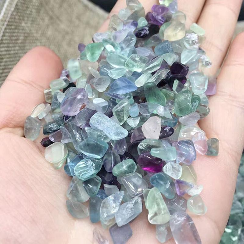 100//500g Natural Fluorite Quartz Crystal Stone Rough Polished Gravel Specimen