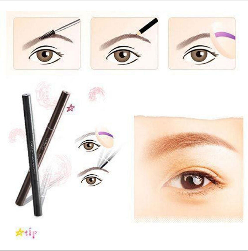 Beauty & Health 100% Quality Hot Women Pen Eyebrow Pencil Waterproof Eyebrow Comb Brush Makeup Tool Light Coffee Hottest Eye Shadow Applicator