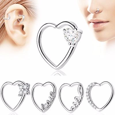 5 Styles Heart Hoop Nose Ear Rings Helix Tragus Cartilage Earring