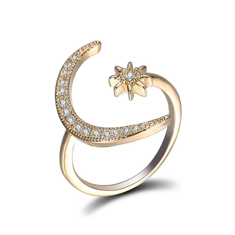 Women Crescent Moon and Star Adjustable Ring Ladies Jewelry Silver Rose Gold+Bag