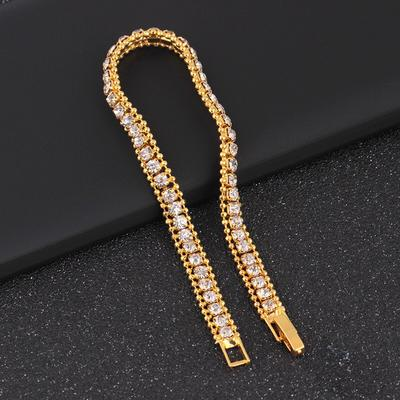 1PC Hip hop Black Silver Crystal Zircon Golden Rose Golden Bling Iced Out Cubic Zirconia Link Chain Jewelry Tennis Chain,Golden,9 inch
