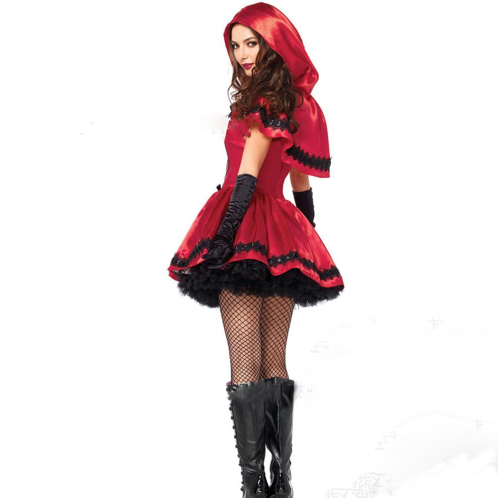 Adult Cosplay Dress Party Nightclub Role Play Costume Retro Gown Halloween Clothing for Fancy Dress Party Little Red Riding Hood Halloween Dress Women for Dress Up Party