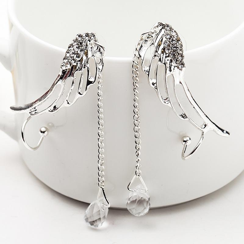1 Pair Fashion Earrings Crystal Inlaid Angel Wing Chain