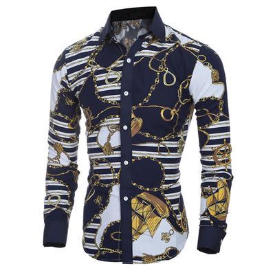 X-Future Men Casual Skinny Cotton Lapel Single Breasted Long Sleeve Plaid Shirt