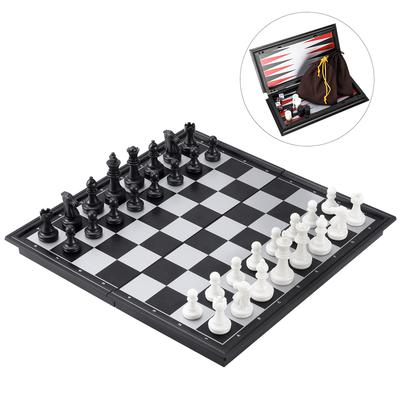 Wooden Chess Set Wood Board Pieces Checkers Backgammon Folding Game Vintage Toy
