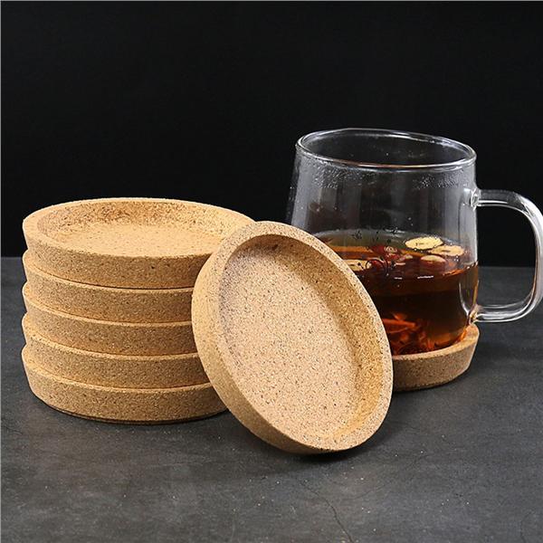 6Pcs//set 10cm Round Pad Plain Wood Wine Mug Cup Mat Cork Coffee Coaster Dining