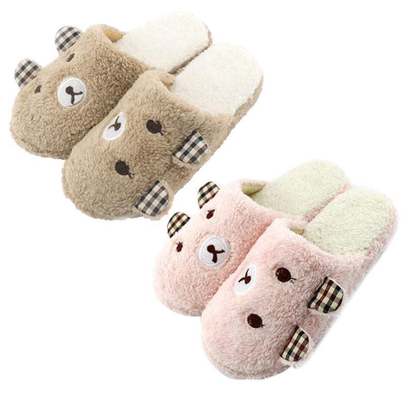 棉拖 冬季新款家居拖鞋女卡通侧耳熊防滑软底地板拖厂家直销