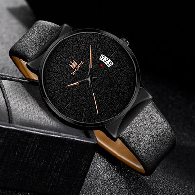 Men'S Watch Luxury Rose Gold Analogue Quartz Watch Casual Men'S Leather Clock