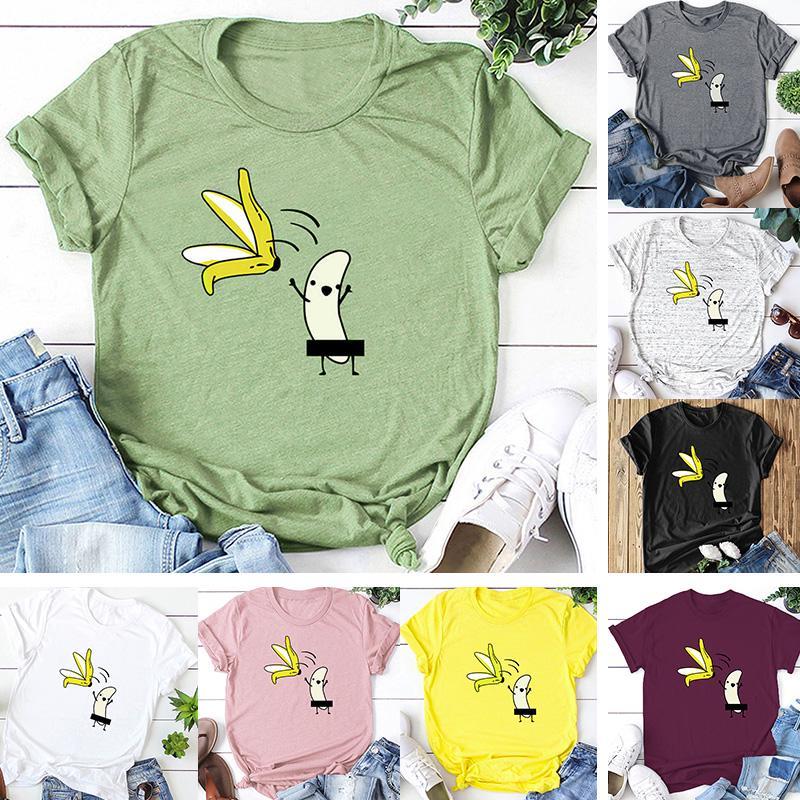 Случайные женщины хлопка футболку голый банан мультфильм печати короткий рукав O-шея смешные мило Tee топы фото