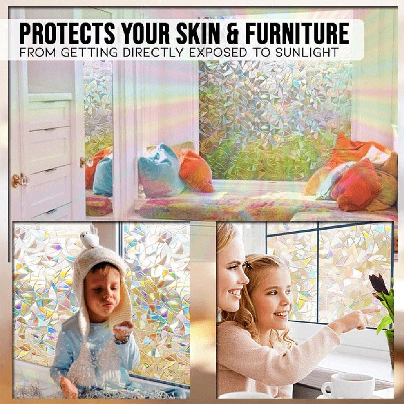 3D Window Glass Film Rainbow Sticker Stained Anti-UV Self Adhesive 45*100CM