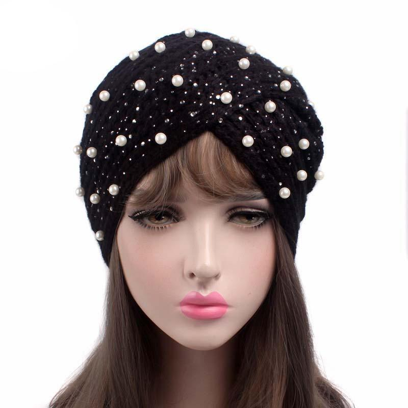 683eaae688b Women s winter hats Ladies Shine Pearl Retro Knitting Hat Turban Brim Hat  Cap for girls-buy at a low prices on Joom e-commerce platform