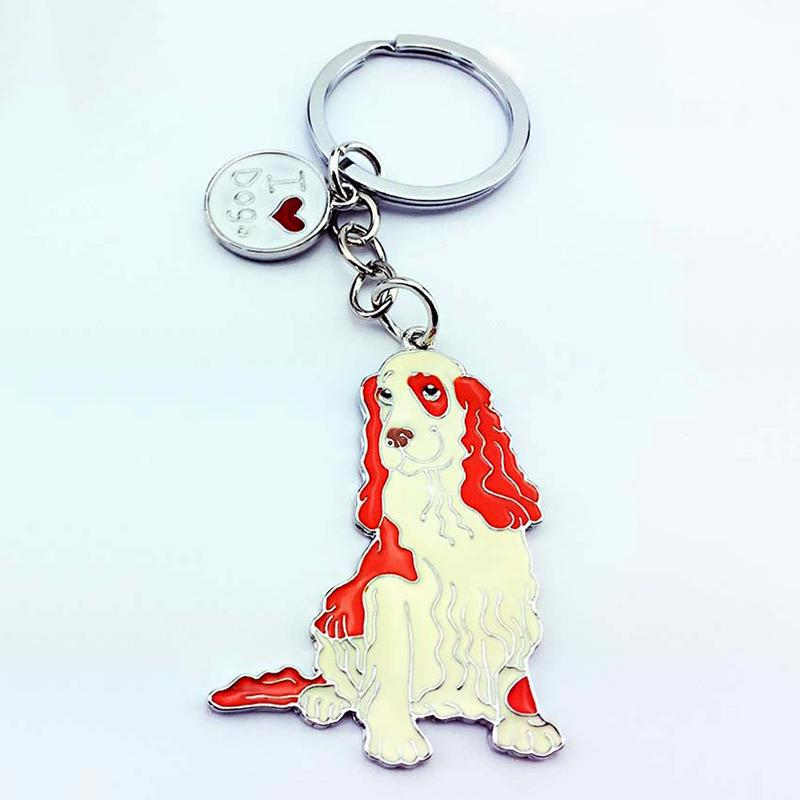 Brittany Spaniel Dog Animal Silver Charm Purse//Backpack Key Finder Ring