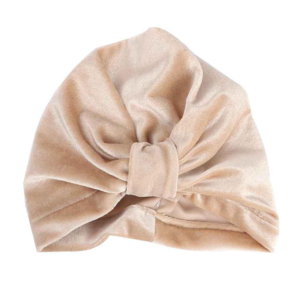 New velvet baby hat for girls winter baby photography prop elastic infant turTDO