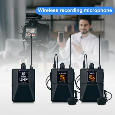 Wireless Microphone DEBRA CM-02 UHF 30 Selectable Channels 50m Transmission Range High Fidelity Lavalier Microphone System for DSLR Camera