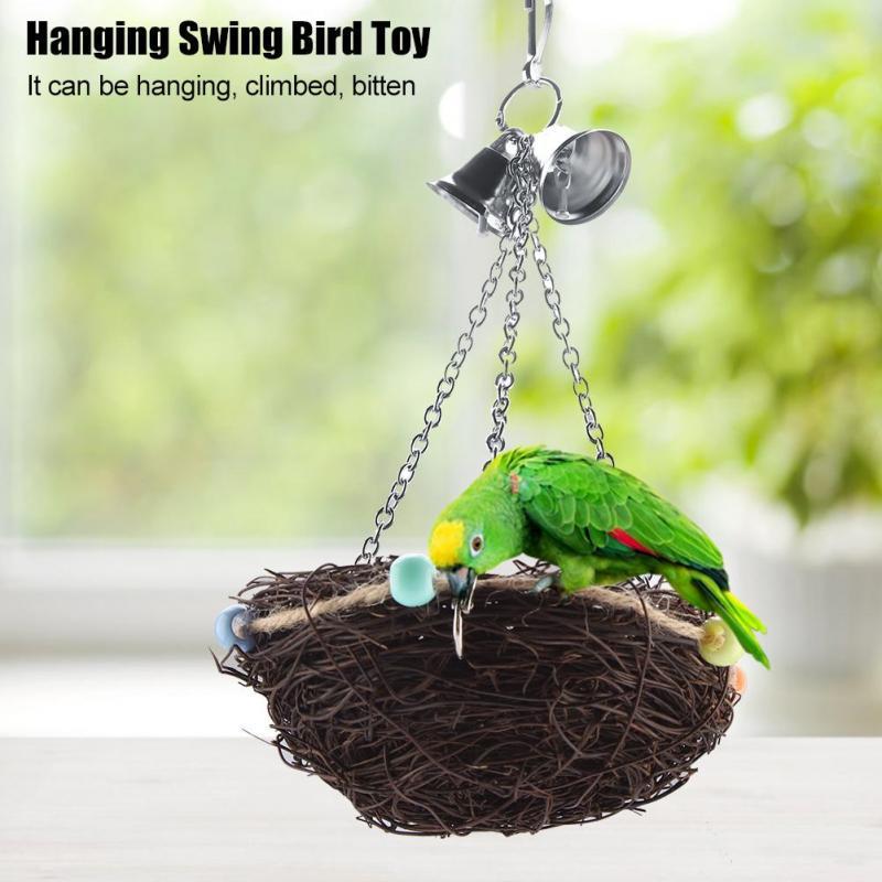 Parrot Pet Bird Swing Hanging Chew Toys Parakeet Cockatiel Nest Hammock 27x12CM
