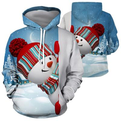 Kawaii Blue Snowman Women Fashion Casual Hooded Pullover Sweatshirt Tops