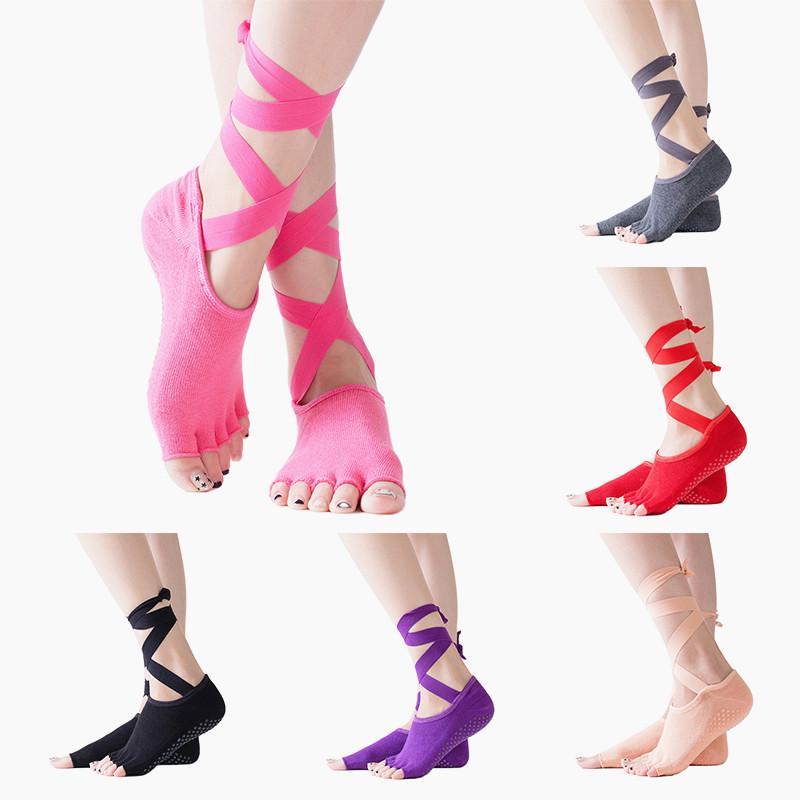Non-Slip Half Toe Gym Sports Yoga Pilates Ankle 5 Toes Grip Sock Massage Sock