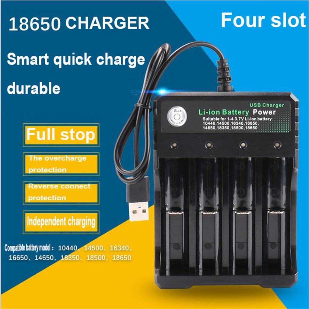 18650 Battery Charger Universal with 6pcs Rechargeable 18650 Battery Button Top Batteries 6 Bay Smart Charger with LED Indicator for 3.7V Li-ion 26650 18500 16650 Rechargeable Batteries