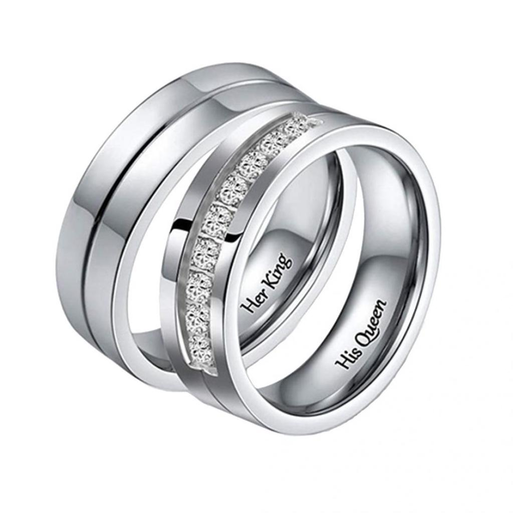 1PC Valentine/'s Day Gift Titanium Stainless Steel Frosted Matt Couple LOVE Ring