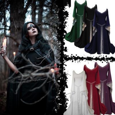 04e8f96559 Kobiety Sukienka Średniowieczna Sukienka Wysoka Talia Sukienka Vintage  Gothic Długość Dekoltu V z Nadrukiem Podłogowym
