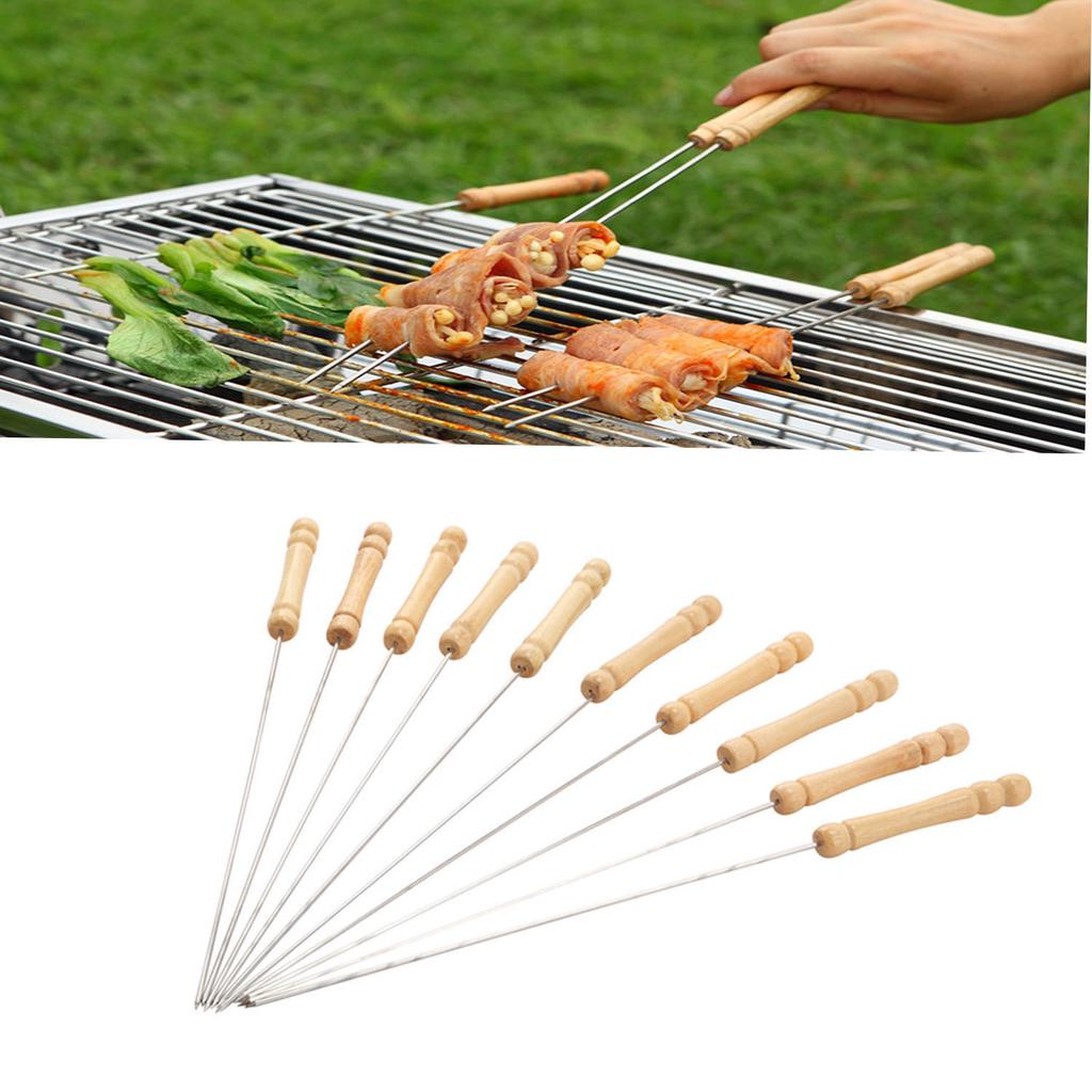 5pcs//set BBQ Grilling Kebab Wooden Handle Stainless Steel Flat Barbecue Skewers
