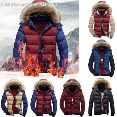 Mens Padded Fur Hooded Coat Winter Warm Thick Puffer Quilted Jacket Parka
