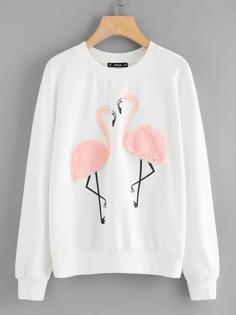 SHEIN imitación piel sudadera Flamingo - comprar a precios bajos en ... adc0d1e20ce