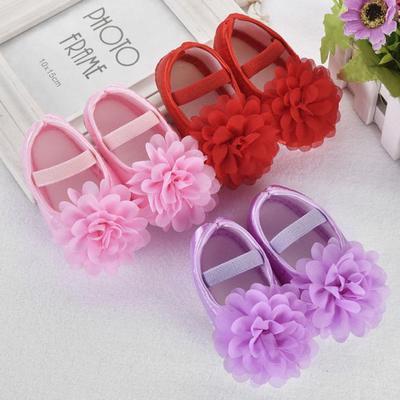 Toddler Kid Baby Girl Chiffon Flower Elastic Band Newborn Walking Shoes