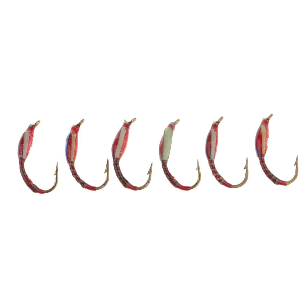 6pcs Trout Flies for Fly Fishing Wet Dry Nymph Buzzers 1.3cm