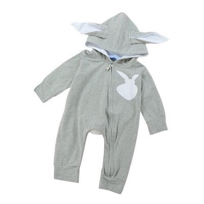 045666ee311 Bebé niños niñas manga larga 3D lindo conejo patrón otoño mameluco con  capucha mono