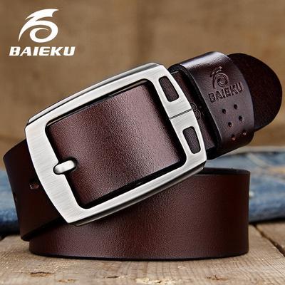 Mens Genuine Leather Cowhide Belt Luxury Pin Buckle Casual Belt Classic Vintage Cowboy Belt Masculine,E,110cm