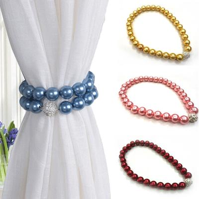 19 Inch Long Goowin 4 Pack Curtain Tiebacks Beige Strong Magnetic Curtain Holdbacks Resin Pearl Decorative Curtain Tiebacks Rope Drapery Holdbacks for Curtain Ties /& D/écor