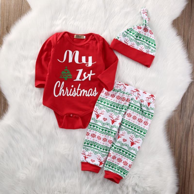 BEDHRT Baby Boys Girls Christmas Outfit Long Sleeve Romper Cartoon Pants Hat Xmas 3Pcs Set Clothes