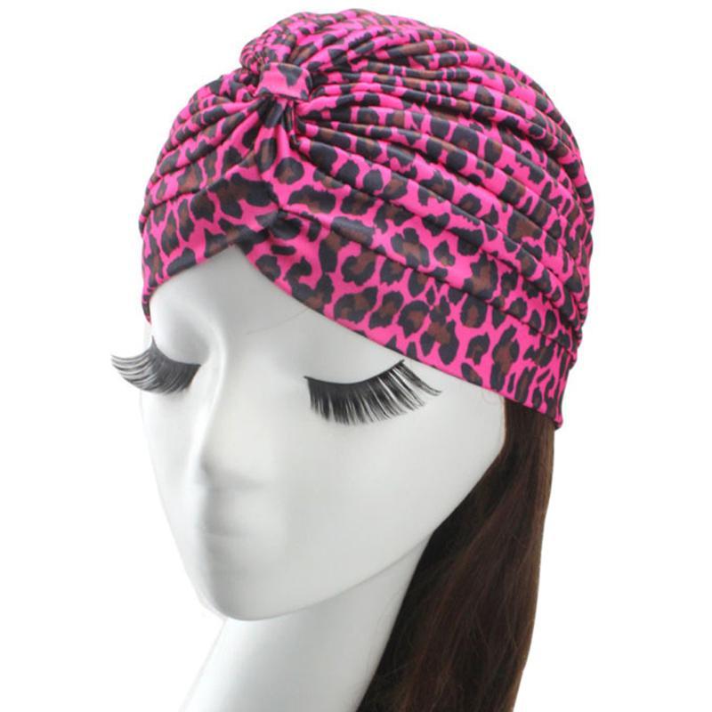Abrigo de la mujer leopardo algodón indio turbante sombrero cabeza ...