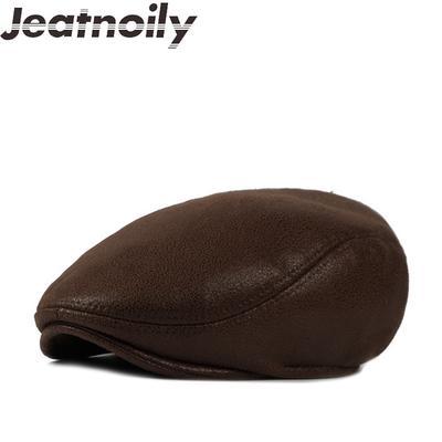 47982e2eec7ab Imitation plus velvet berets for men Retro leather hats casual peaked cap  gorras planas flat caps