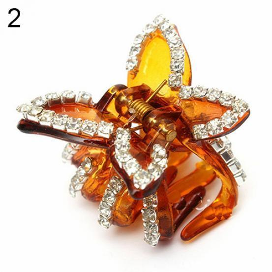 New Women Butterfly Crystal Rhinestone Claw Hairpin Hair Clip Clamp Accessory TE