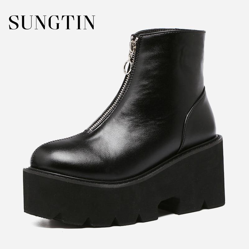 Details about  /Women Shoes Round Toe Platform High Heels Ankle Boots Side Zip Black Booties
