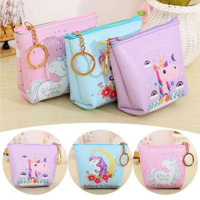 Maple Memories Rainbow Unicorn Animal Portable Canvas Coin Purse Change Purse Pouch Mini Wallet Gifts For Women Girls