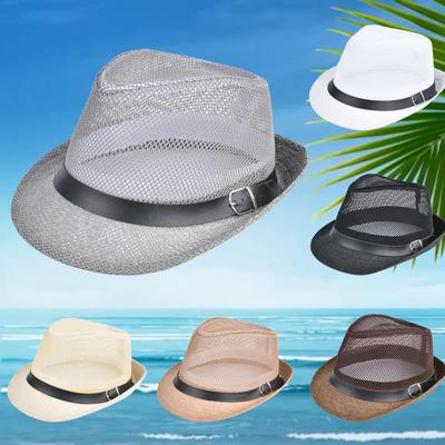 Sun Hat Straw Hat Solid Hollow Out Metal Belt Summer Sunbonnet Trilby Fedora  Beach Panama Hat 6567666f25e0