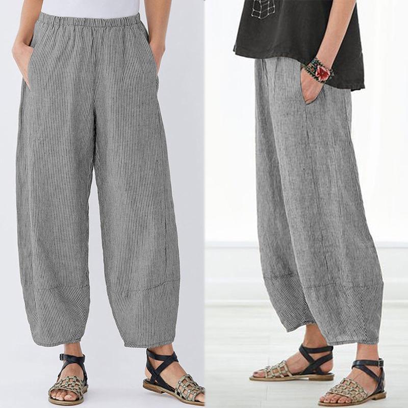 ЗАНЗЕА женщин случайные Looes Полосатые длинные брюки Винтаж Широкие брюки ноги негабаритных фото